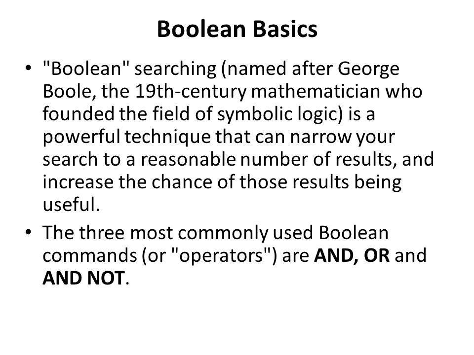 Boolean Basics