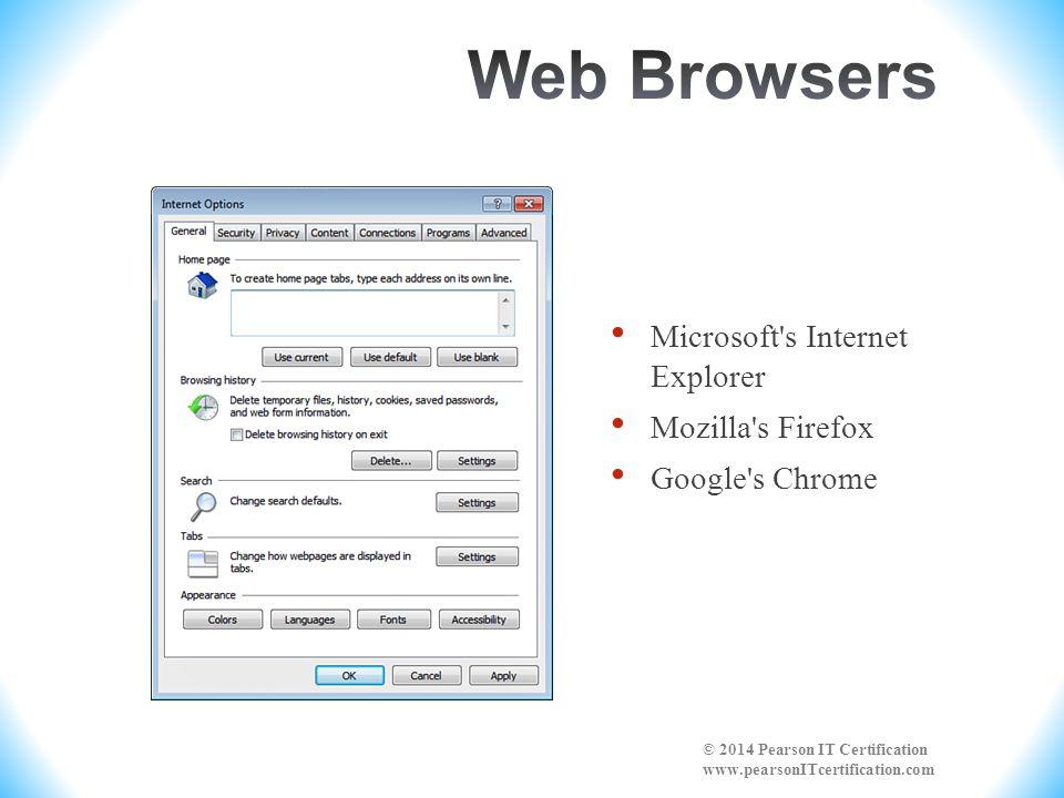 Microsoft's Internet Explorer Mozilla's Firefox Google's Chrome © 2014 Pearson IT Certification www.pearsonITcertification.com