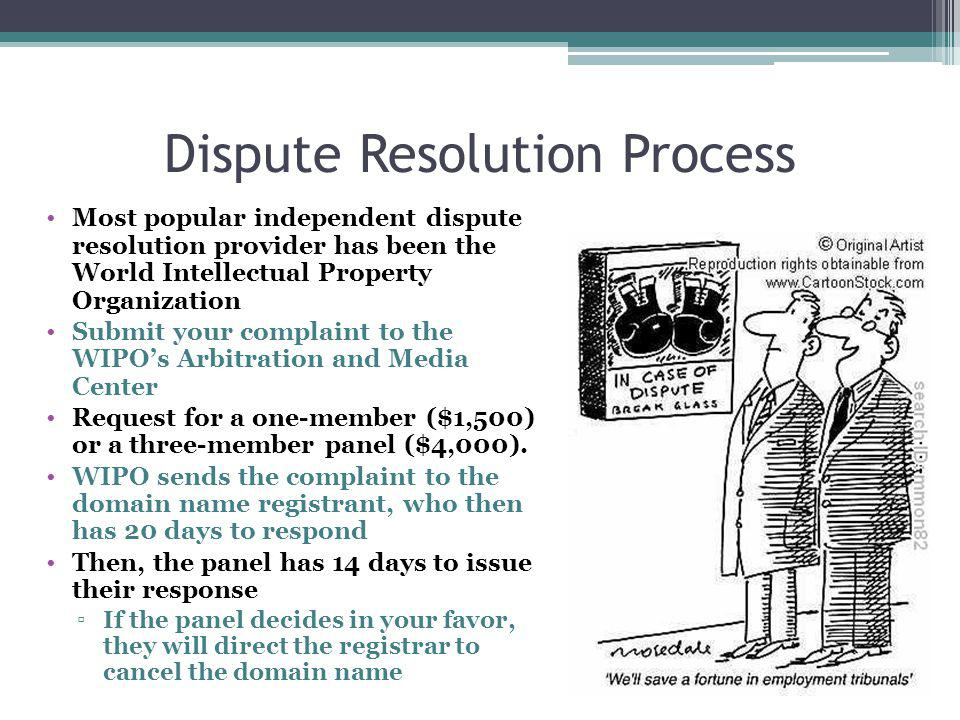 Dispute Resolution Process Most popular independent dispute resolution provider has been the World Intellectual Property Organization Submit your complaint to the WIPOs Arbitration and Media Center Request for a one-member ($1,500) or a three-member panel ($4,000).