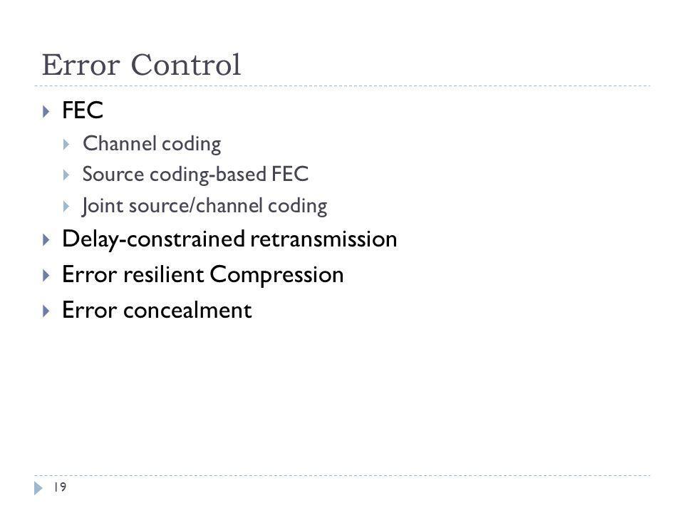 Error Control FEC Channel coding Source coding-based FEC Joint source/channel coding Delay-constrained retransmission Error resilient Compression Erro