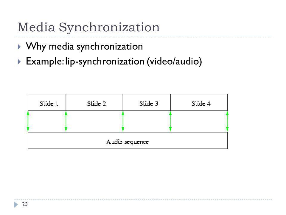 Media Synchronization Why media synchronization Example: lip-synchronization (video/audio) 23