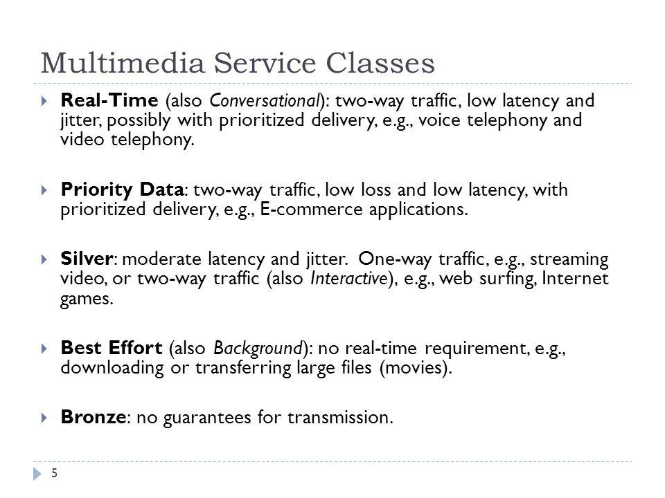 Multimedia Service Classes Real-Time (also Conversational): two-way traffic, low latency and jitter, possibly with prioritized delivery, e.g., voice t
