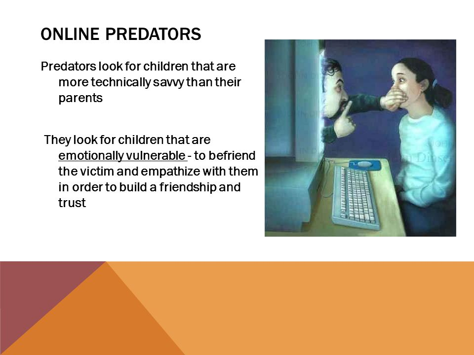 ONLINE PREDATORS Predators look for children that are more technically savvy than their parents They look for children that are emotionally vulnerable