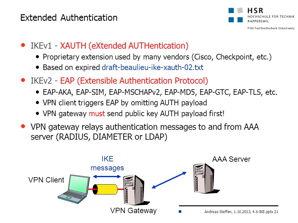 Andreas Steffen, 1.10.2013, 4.6-IKE.pptx 21 IKEv1 - XAUTH (eXtended AUTHentication) Proprietary extension used by many vendors (Cisco, Checkpoint, etc.) Based on expired draft-beaulieu-ike-xauth-02.txt IKEv2 - EAP (Extensible Authentication Protocol) EAP-AKA, EAP-SIM, EAP-MSCHAPv2, EAP-MD5, EAP-GTC, EAP-TLS, etc.