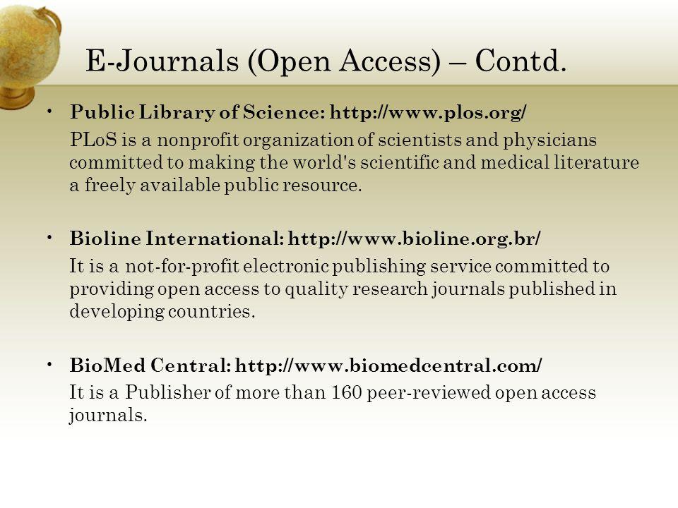 E-Journals (Open Access) – Contd.