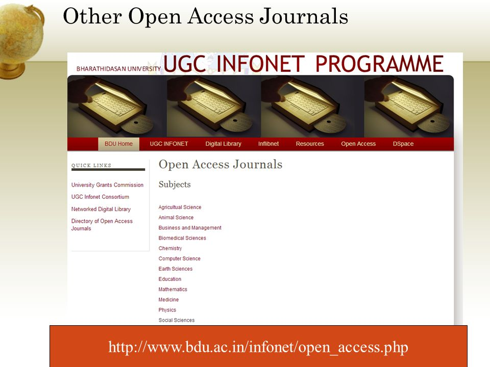 Other Open Access Journals http://www.bdu.ac.in/infonet/open_access.php