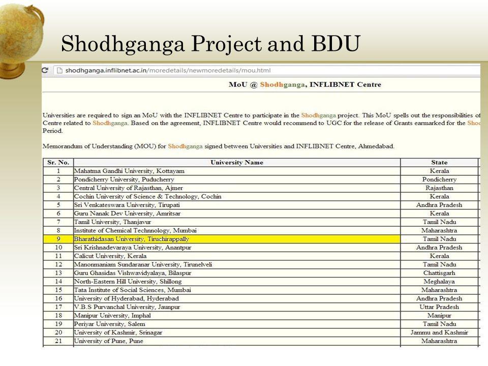 Shodhganga Project and BDU