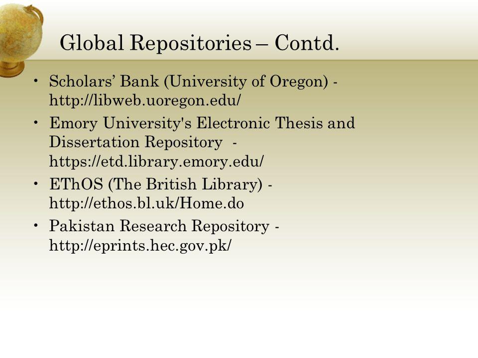 Global Repositories – Contd.