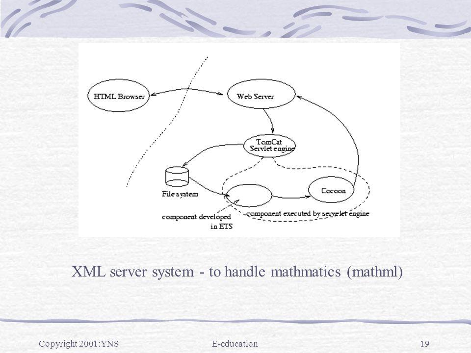Copyright 2001:YNSE-education19 XML server system - to handle mathmatics (mathml)