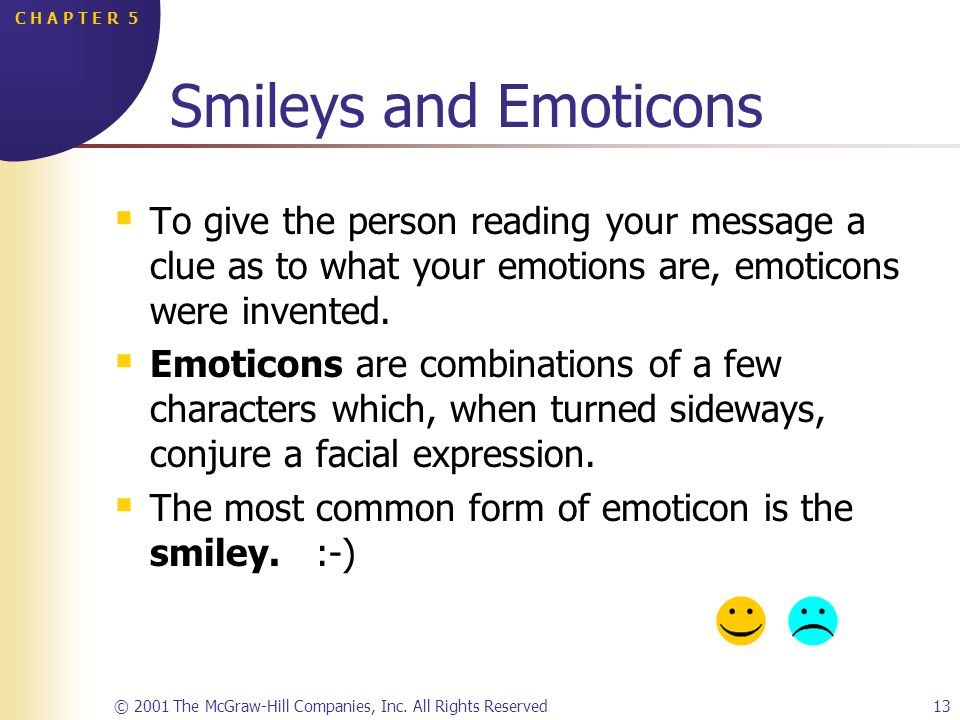 © 2001 The McGraw-Hill Companies, Inc. All Rights Reserved13 C H A P T E R 5 Smileys and Emoticons To give the person reading your message a clue as t