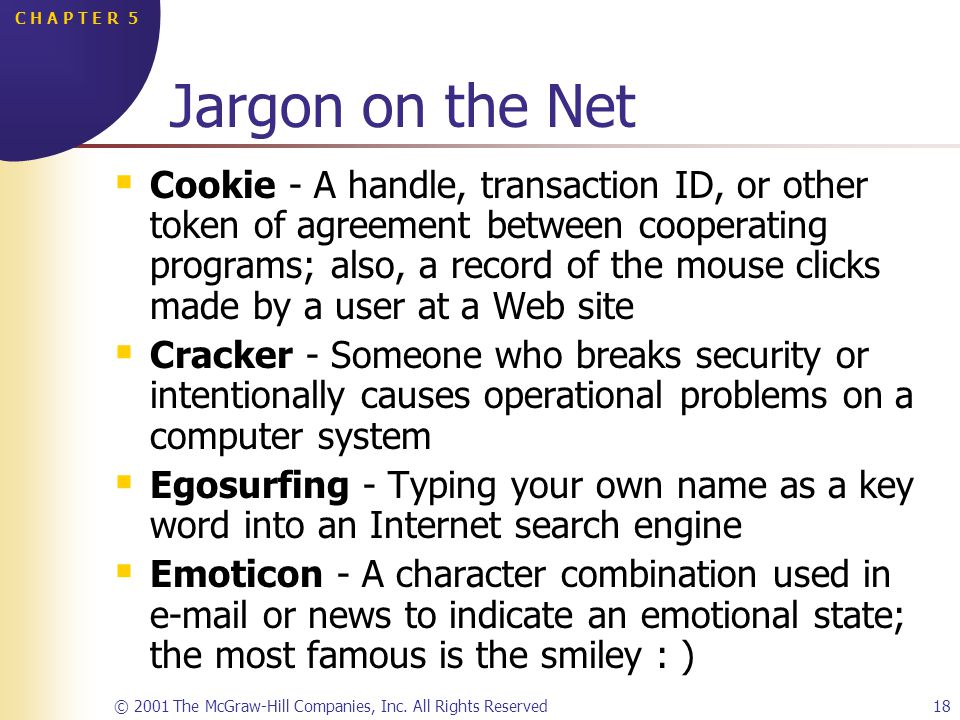 © 2001 The McGraw-Hill Companies, Inc. All Rights Reserved18 C H A P T E R 5 Jargon on the Net Cookie - A handle, transaction ID, or other token of ag
