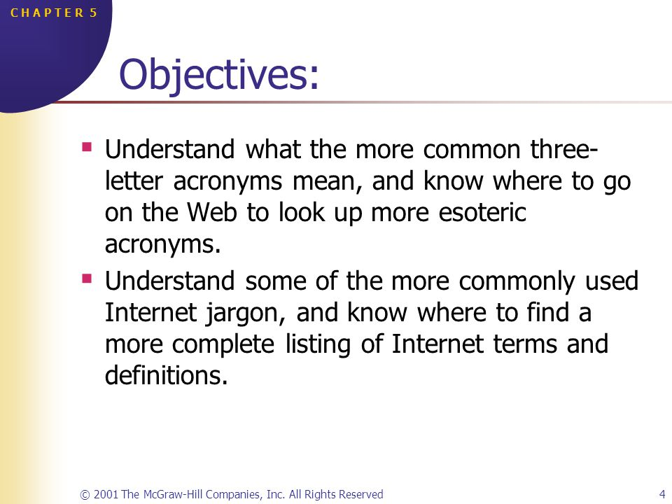 © 2001 The McGraw-Hill Companies, Inc. All Rights Reserved4 C H A P T E R 5 Objectives: Understand what the more common three- letter acronyms mean, a