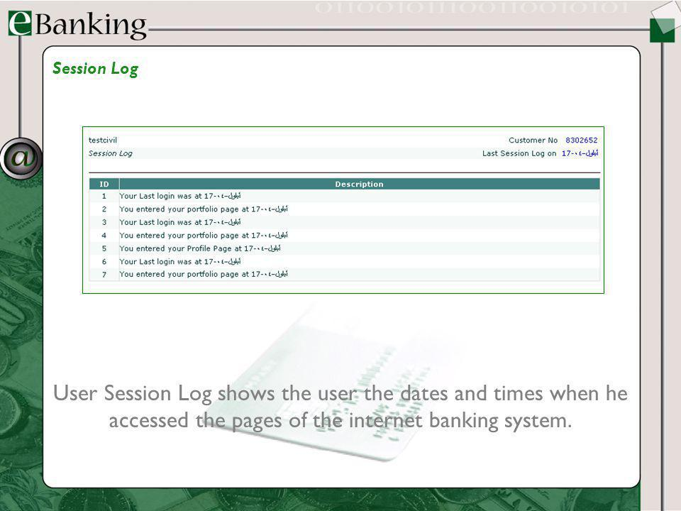 User Session Log shows the user the dates and times when he accessed the pages of the internet banking system. Session Log