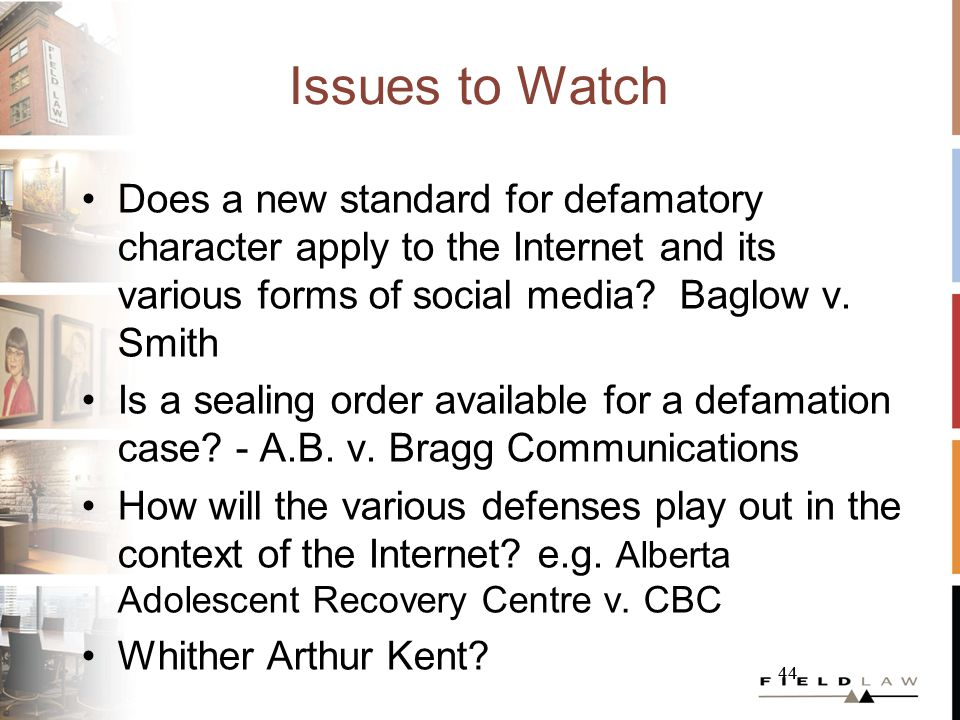 44 Issues to Watch Does a new standard for defamatory character apply to the Internet and its various forms of social media.