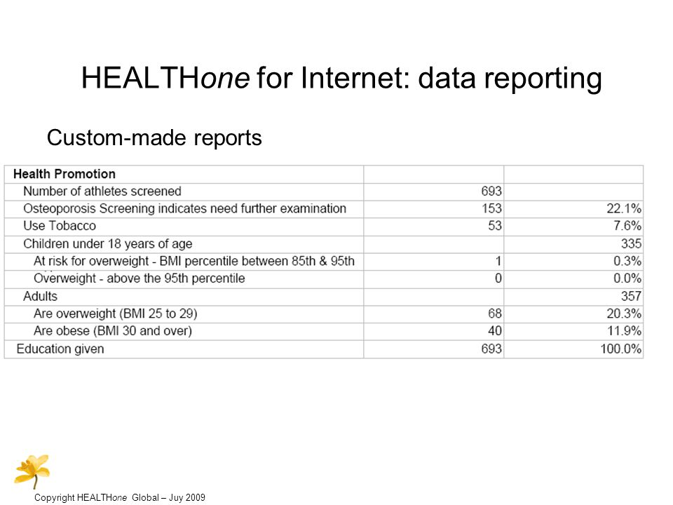 Copyright HEALTHone Global – Juy 2009 HEALTHone for Internet: data reporting Custom-made reports