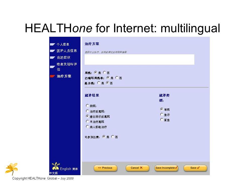 Copyright HEALTHone Global – Juy 2009 HEALTHone for Internet: multilingual