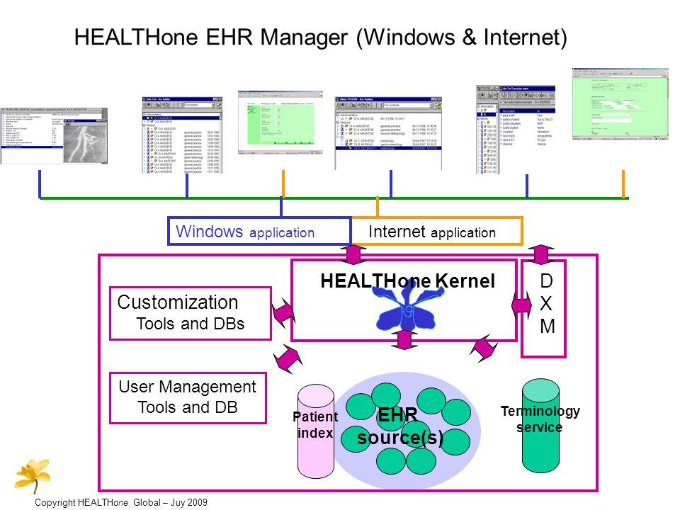 Copyright HEALTHone Global – Juy 2009 HEALTHone EHR Manager (Windows & Internet) Internet application Windows application User Management Tools and DB Customization Tools and DBs HEALTHone Kernel EHR source(s) Terminology service DXMDXM Patient index