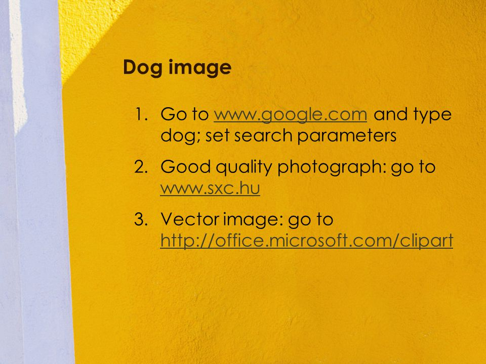 Dog image 1.Go to www.google.com and type dog; set search parameterswww.google.com 2.Good quality photograph: go to www.sxc.hu www.sxc.hu 3.Vector ima