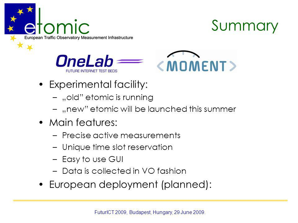 Summary Experimental facility: –old etomic is running –new etomic will be launched this summer Main features: –Precise active measurements –Unique time slot reservation –Easy to use GUI –Data is collected in VO fashion European deployment (planned): FuturICT 2009, Budapest, Hungary, 29 June 2009.