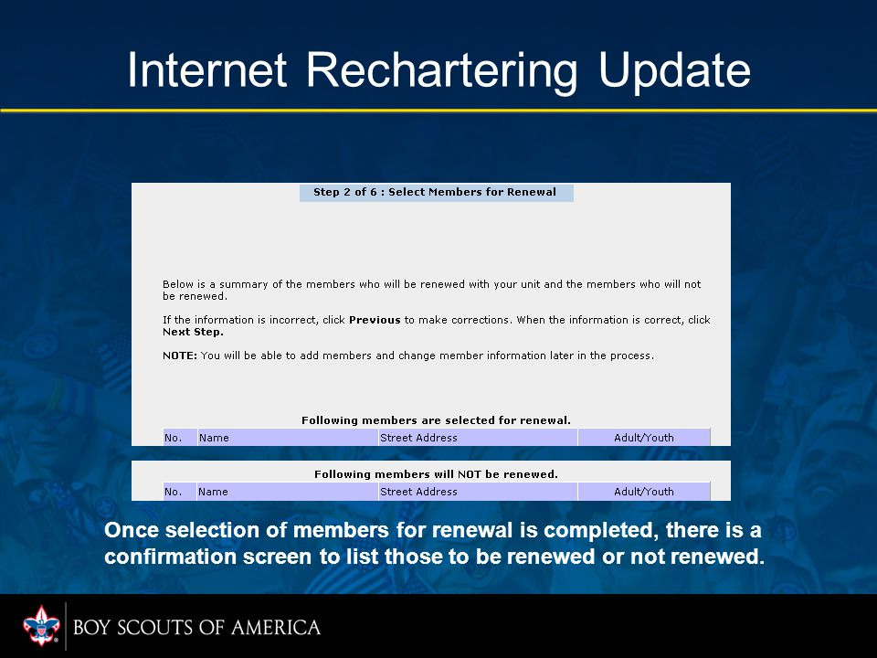 Internet Rechartering Update Once selection of members for renewal is completed, there is a confirmation screen to list those to be renewed or not renewed.