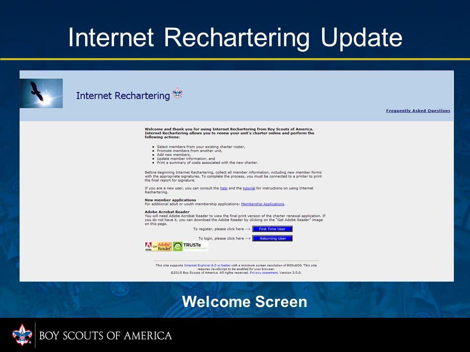 Internet Rechartering Update Welcome Screen
