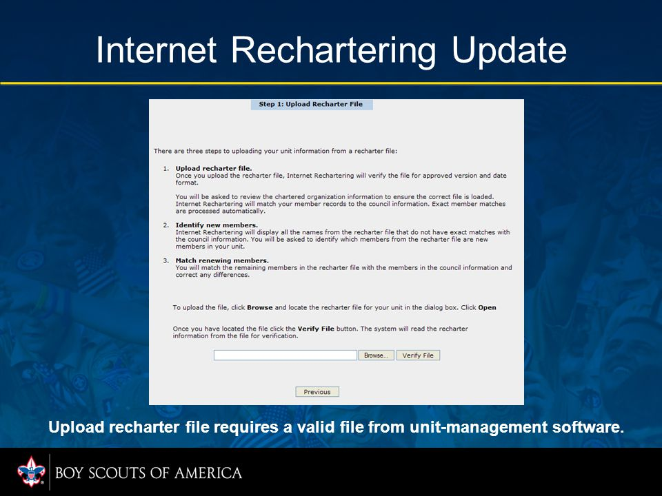 Internet Rechartering Update Upload recharter file requires a valid file from unit-management software.