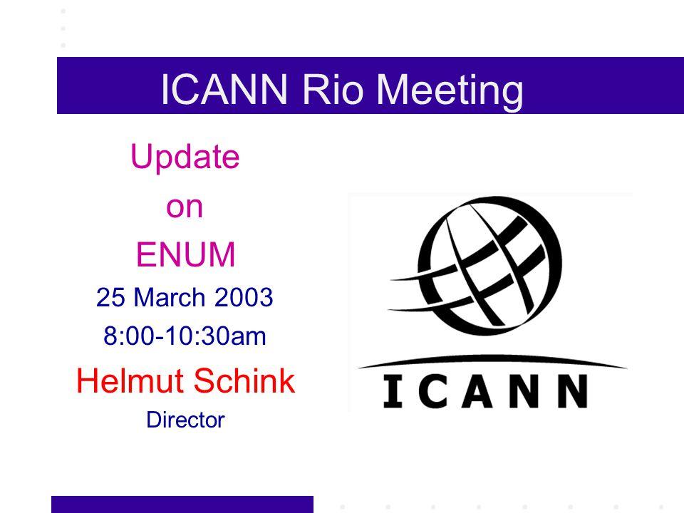 ICANN Rio Meeting Update on ENUM 25 March 2003 8:00-10:30am Helmut Schink Director