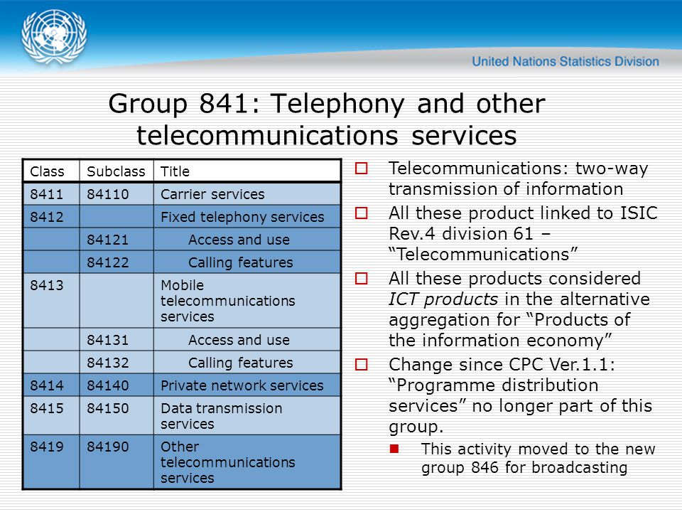 Group 841: Telephony and other telecommunications services ClassSubclassTitle 841184110Carrier services 8412Fixed telephony services 84121 Access and use 84122 Calling features 8413Mobile telecommunications services 84131 Access and use 84132 Calling features 841484140Private network services 841584150Data transmission services 841984190Other telecommunications services Telecommunications: two-way transmission of information All these product linked to ISIC Rev.4 division 61 – Telecommunications All these products considered ICT products in the alternative aggregation for Products of the information economy Change since CPC Ver.1.1: Programme distribution services no longer part of this group.
