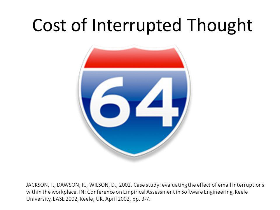 Cost of Interrupted Thought JACKSON, T., DAWSON, R., WILSON, D., 2002.