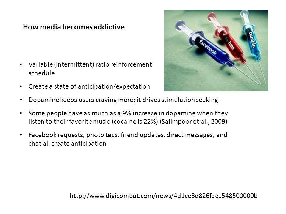 How media becomes addictive Variable (intermittent) ratio reinforcement schedule Create a state of anticipation/expectation Dopamine keeps users craving more; it drives stimulation seeking Some people have as much as a 9% increase in dopamine when they listen to their favorite music (cocaine is 22%) (Salimpoor et al., 2009) Facebook requests, photo tags, friend updates, direct messages, and chat all create anticipation http://www.digicombat.com/news/4d1ce8d826fdc1548500000b