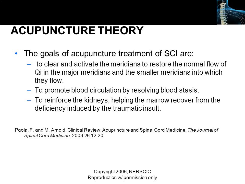 Copyright 2006, NERSCIC Reproduction w/ permission only ACUPUNCTURE THEORY The goals of acupuncture treatment of SCI are: – to clear and activate the
