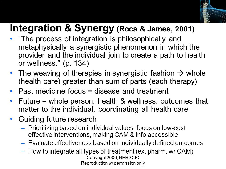 Copyright 2006, NERSCIC Reproduction w/ permission only Integration & Synergy (Roca & James, 2001) The process of integration is philosophically and m