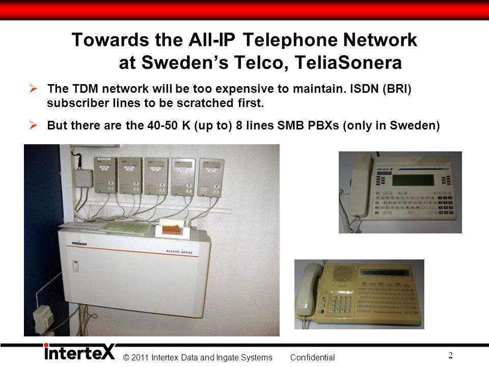© 2011 Intertex Data and Ingate Systems Confidential 2 Towards the All-IP Telephone Network at Swedens Telco, TeliaSonera The TDM network will be too