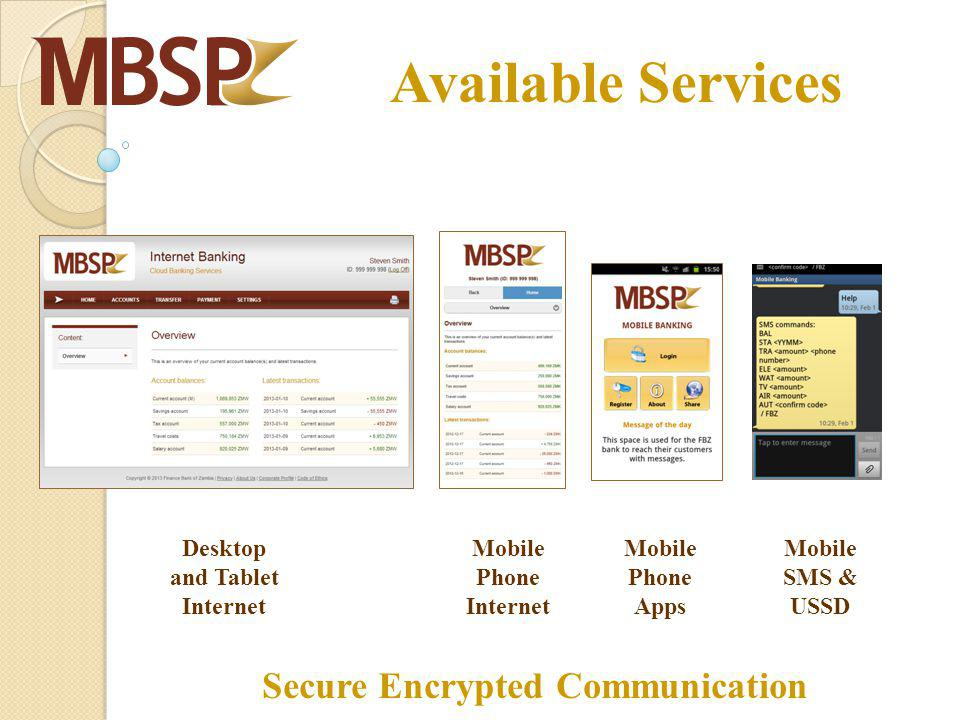 Desktop and Tablet Internet Mobile Phone Internet Mobile Phone Apps Mobile SMS & USSD Secure Encrypted Communication Available Services
