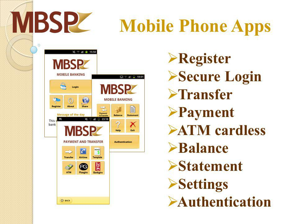 Mobile Phone Apps Register Secure Login Transfer Payment ATM cardless Balance Statement Settings Authentication