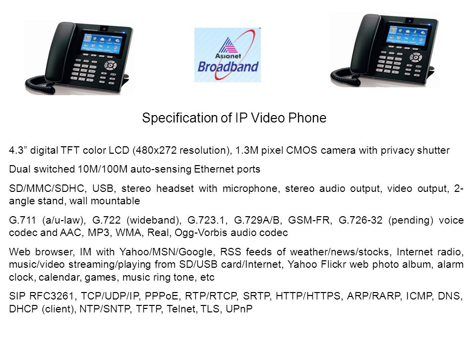 IP Video Phone Connectivity with any ISP Modem Internet Tips You need to connect to the Network port of the IP Video Phone You can use any ISP modem in the similar way to connect the IP Video phone for Calling