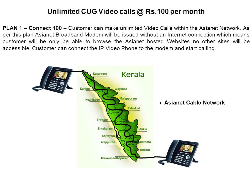 PLAN 1 – Connect 100 – Customer can make unlimited Video Calls within the Asianet Network.