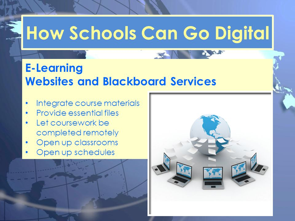 How Schools Can Go Digital E-Learning Websites and Blackboard Services Integrate course materials Provide essential files Let coursework be completed