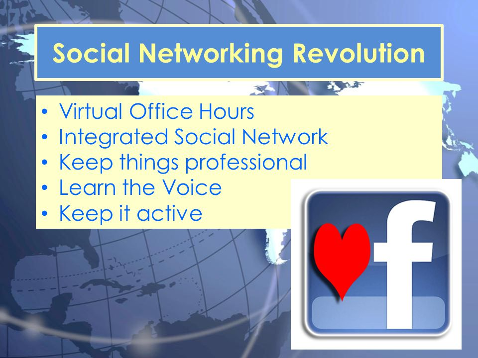 Virtual Office Hours Integrated Social Network Keep things professional Learn the Voice Keep it active