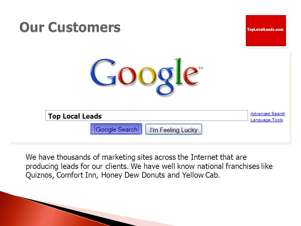 We have thousands of marketing sites across the Internet that are producing leads for our clients.