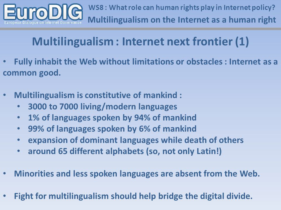 WS8 : What role can human rights play in Internet policy.