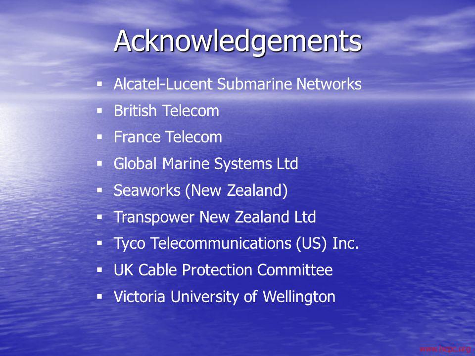 www.iscpc.org Acknowledgements Alcatel-Lucent Submarine Networks British Telecom France Telecom Global Marine Systems Ltd Seaworks (New Zealand) Trans
