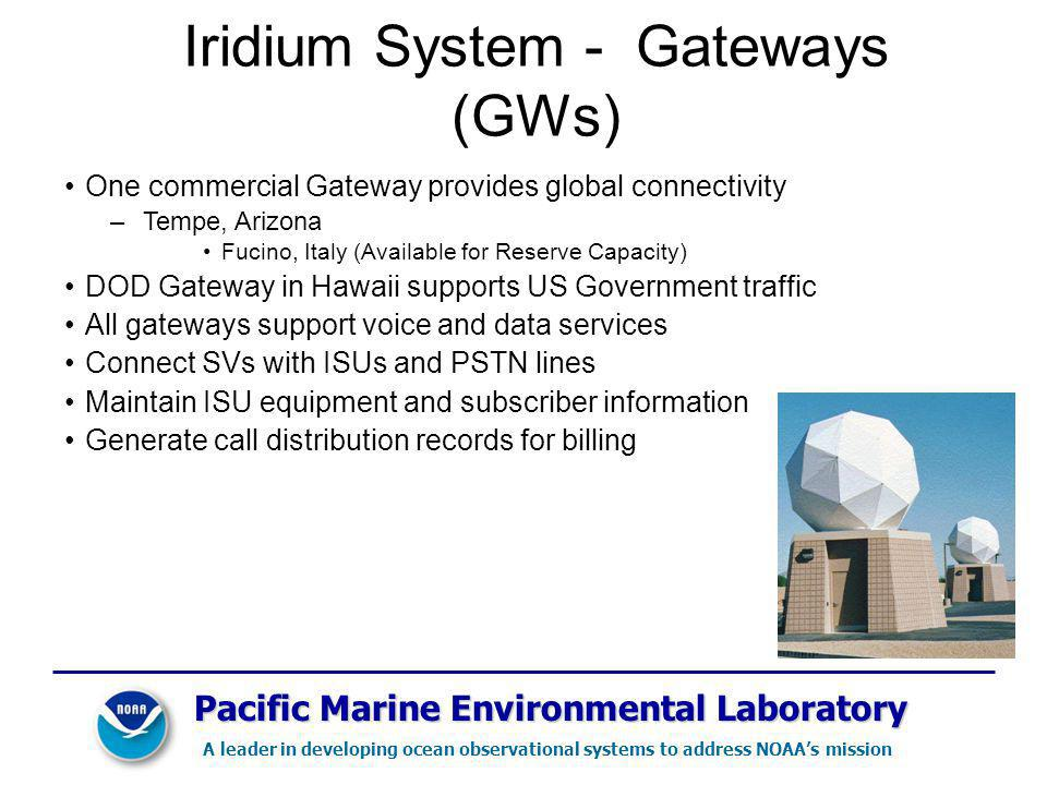 Pacific Marine Environmental Laboratory A leader in developing ocean observational systems to address NOAAs mission Iridium System - Gateways (GWs) One commercial Gateway provides global connectivity –Tempe, Arizona Fucino, Italy (Available for Reserve Capacity) DOD Gateway in Hawaii supports US Government traffic All gateways support voice and data services Connect SVs with ISUs and PSTN lines Maintain ISU equipment and subscriber information Generate call distribution records for billing