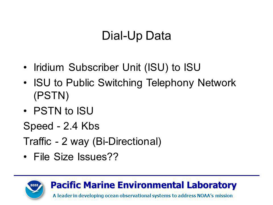 Pacific Marine Environmental Laboratory A leader in developing ocean observational systems to address NOAAs mission Dial-Up Data Iridium Subscriber Unit (ISU) to ISU ISU to Public Switching Telephony Network (PSTN) PSTN to ISU Speed - 2.4 Kbs Traffic - 2 way (Bi-Directional) File Size Issues??