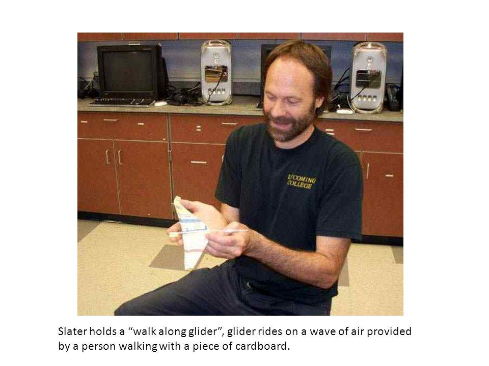 Slater holds a walk along glider, glider rides on a wave of air provided by a person walking with a piece of cardboard.