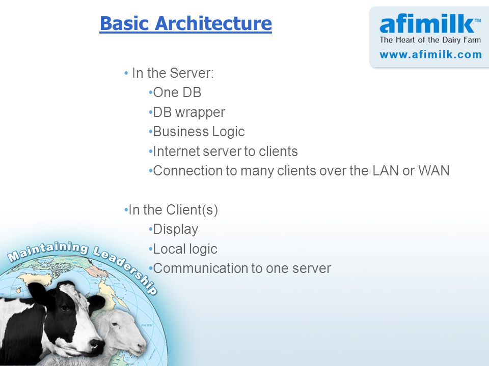 In the Server: One DB DB wrapper Business Logic Internet server to clients Connection to many clients over the LAN or WAN In the Client(s) Display Local logic Communication to one server