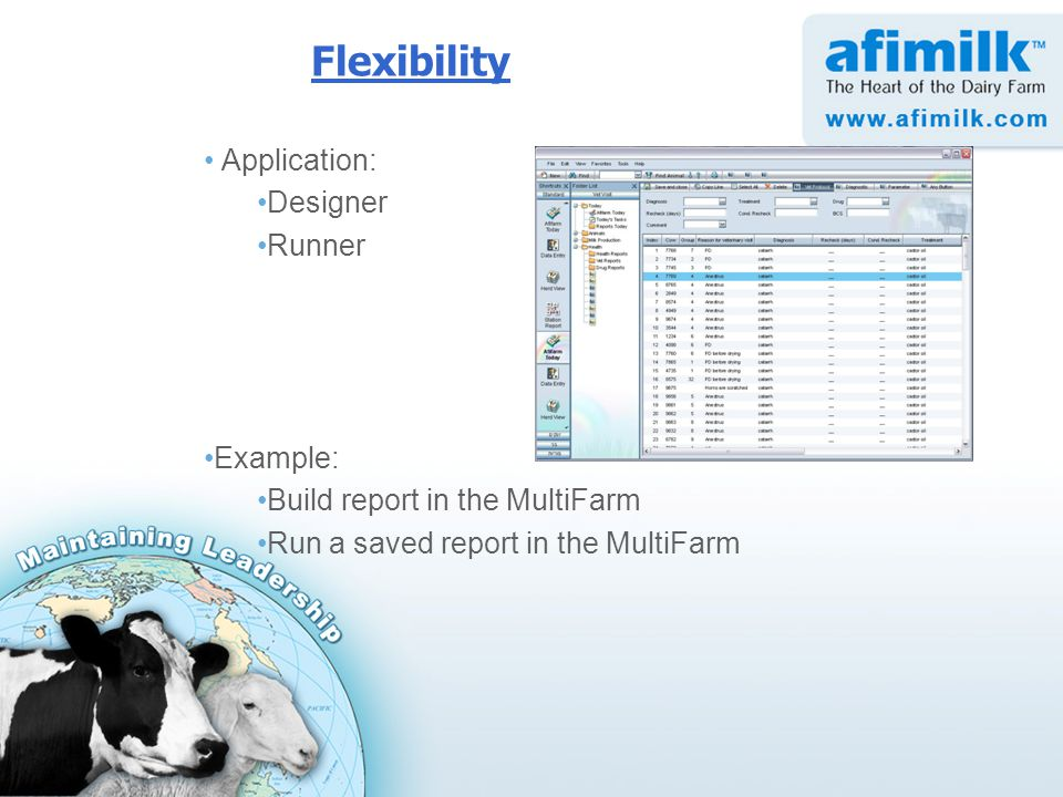 Flexibility Application: Designer Runner Example: Build report in the MultiFarm Run a saved report in the MultiFarm
