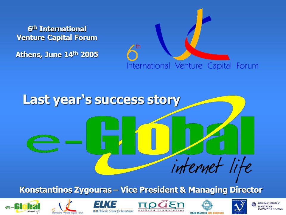 6 th International Venture Capital Forum Athens, June 14 th 2005 Last years success story Konstantinos Zygouras – Vice President & Managing Director