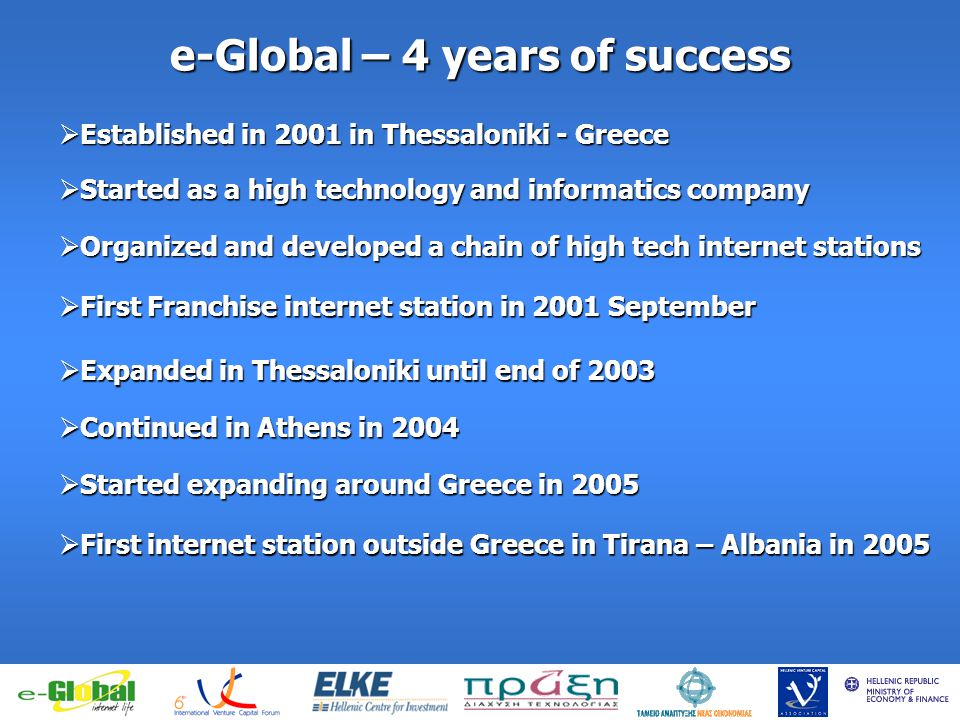 fghfghfghfgj e-Global – 4 years of success Established in 2001 in Thessaloniki - Greece Established in 2001 in Thessaloniki - Greece Started as a high technology and informatics company Started as a high technology and informatics company Organized and developed a chain of high tech internet stations Organized and developed a chain of high tech internet stations First Franchise internet station in 2001 September First Franchise internet station in 2001 September Expanded in Thessaloniki until end of 2003 Expanded in Thessaloniki until end of 2003 Continued in Athens in 2004 Continued in Athens in 2004 Started expanding around Greece in 2005 Started expanding around Greece in 2005 First internet station outside Greece in Tirana – Albania in 2005 First internet station outside Greece in Tirana – Albania in 2005