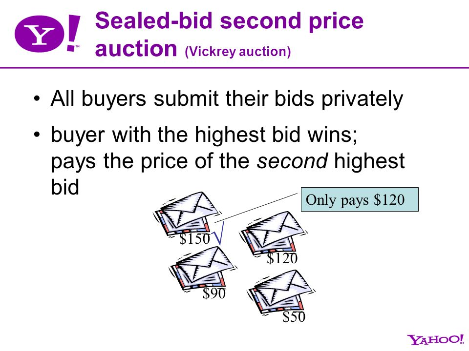 Sealed-bid second price auction (Vickrey auction) All buyers submit their bids privately buyer with the highest bid wins; pays the price of the second
